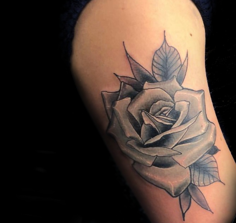 Black and Gray Rose Tattoo by Grime2 at Certified Tattoo Studios in Denver Co.jpg