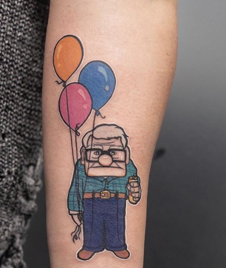Custom Cartoon Style Mr. Fredickson UP Tattoo by Hannah at Certified Tattoo Studios Denver CO.jpg