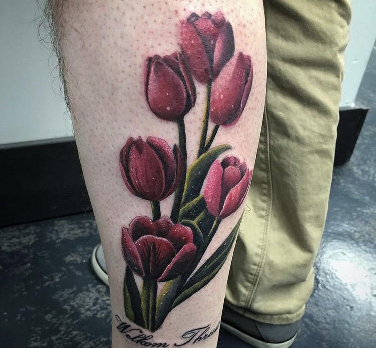 Custom Pink Tulips Tattoo by Darious at Certified Tattoo Studios Denver CO.jpg