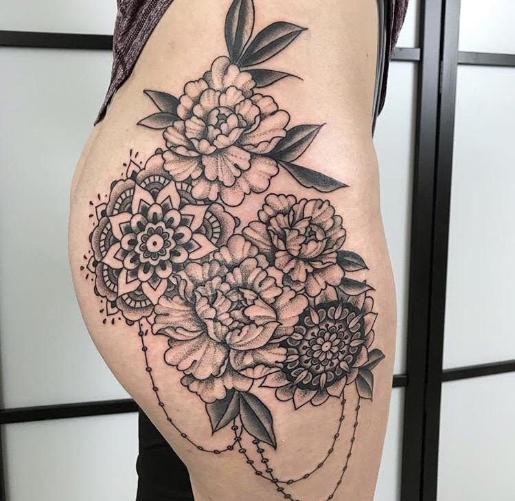 Custom B&G Peony and Mandalas Tattoo by Jorden  at Certified Tattoo Studios Denver Co.jpg