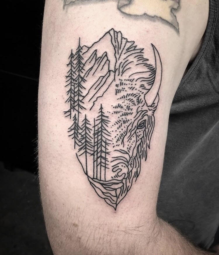 Black Geometric Buffalo Land Forest Tattoo by Spencer at Certified Tattoo Studios Denver, Colorado's Best Tattoo Studio.jpg