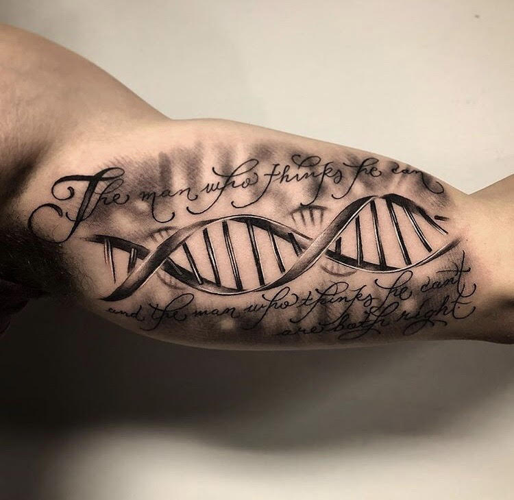 Custom-black-and-grey DNA Strand and Quote-tattoo-by-+Bryan+Alfaro+at-certified-customs-denver-co-8.jpg