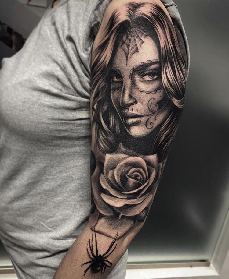 Custom-black-and-grey-Woman Suagr Skull Portrait tattoo-by-+Bryan+Alfaro+at-certified-customs-denver-co-12.jpg