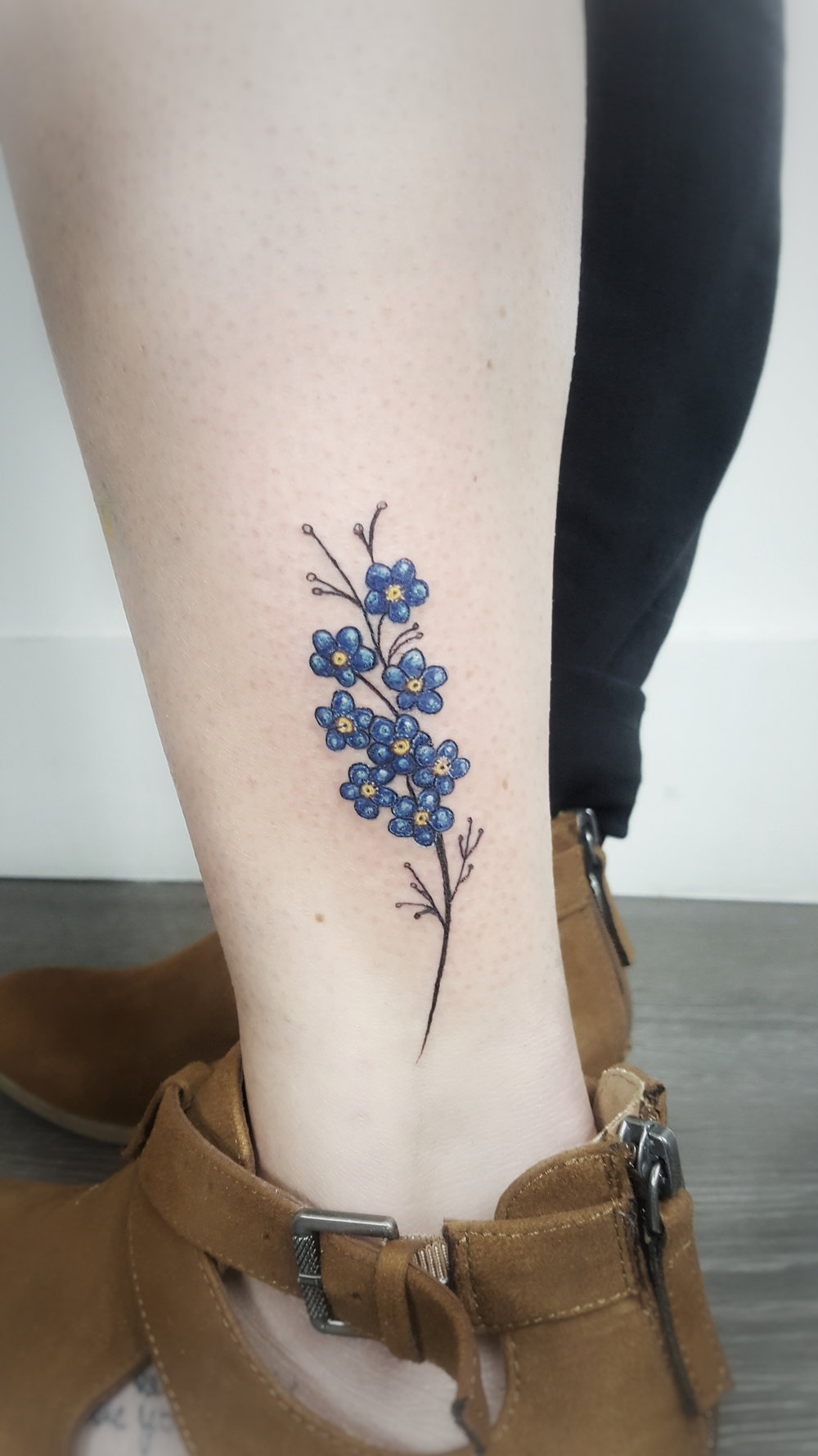 Custom Color Small Blue Flowers Tattoo by Dani at Certified Tattoo Studios Denver Co.jpg