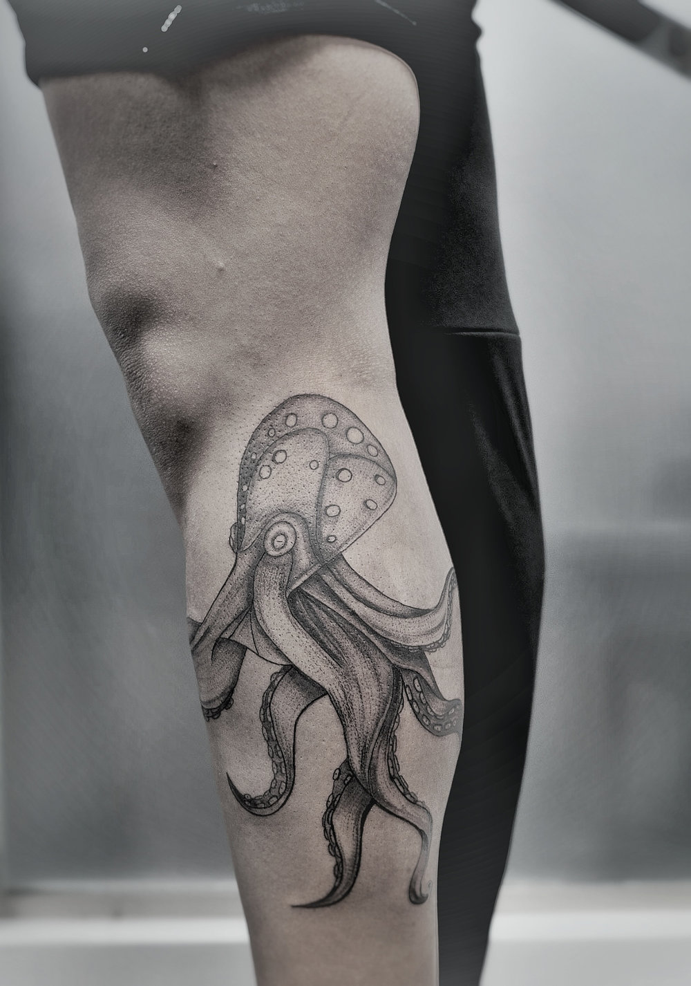 Custom Black and Gray Octopus Tattoo by Dani at Certified Tattoo Studios Denver Co.jpeg
