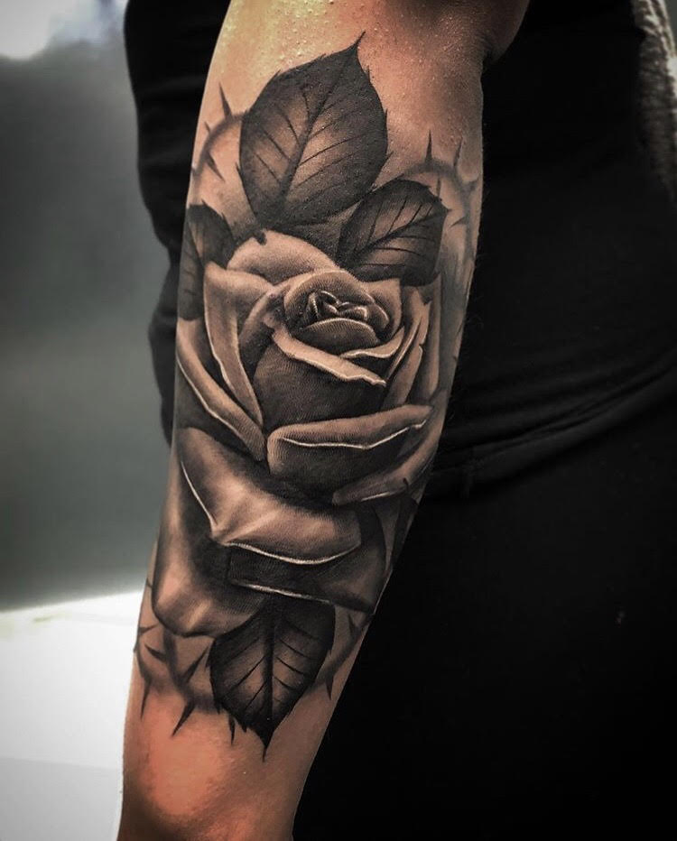 Custom Black and Grey Realistic Rose and Thorns Tattoo by Bryan at Certified Tattoo Studios Denver CO.jpg