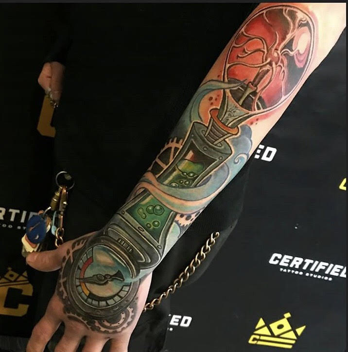 Custom Full Color Dr. Who Arm Sleeve Tattoo by Mike Myers at Certified Tattoo Studios Denver CO.jpg