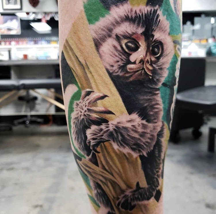 Custom Full Color Monkey Tattoo by Piper  at Certified Tattoo Studios Denver Co.jpg