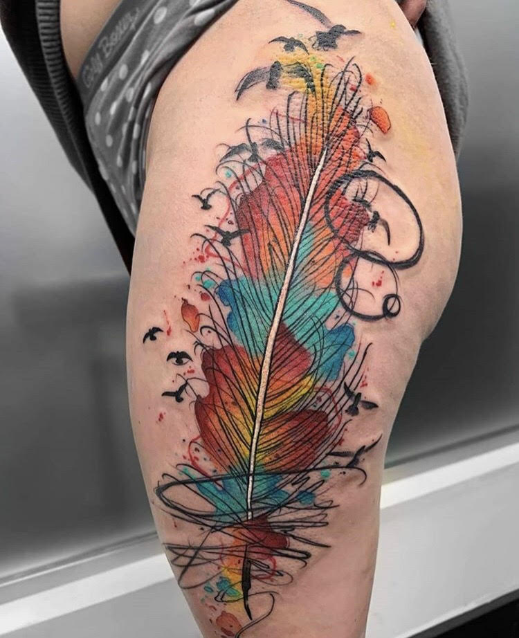 Custom Water Color Feather and Birds Tattoo by Skyler Espinoza at Certified Tattoo Studios in Denver Co.jpg