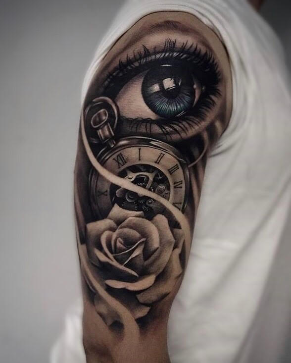 Custom-black-and-grey- Blue Eye with Rose and a Clock tattoo-by-+Bryan+Alfaro+at-certified-customs-denver-co-8.jpg