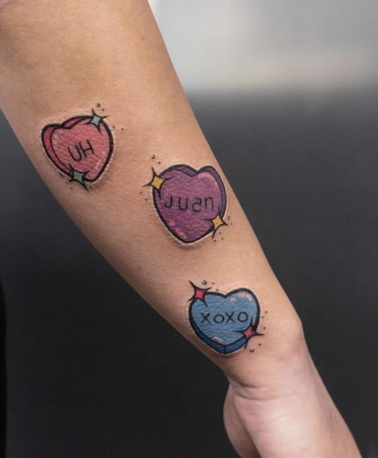 Custom Color Candy Hearts Tattoo by Hannah at Certified Tattoo Studios Denver CO.jpg