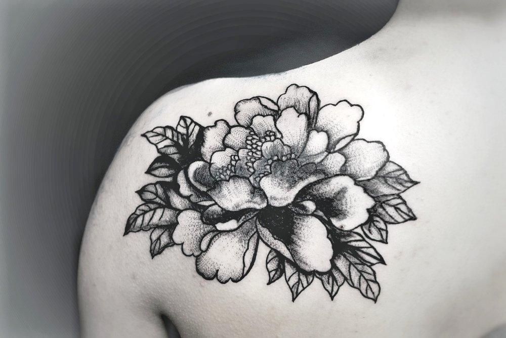 Custom Black and Grey Peony Flower Tattoo by Dani at Certified Tattoo Studio Denver Co.jpg