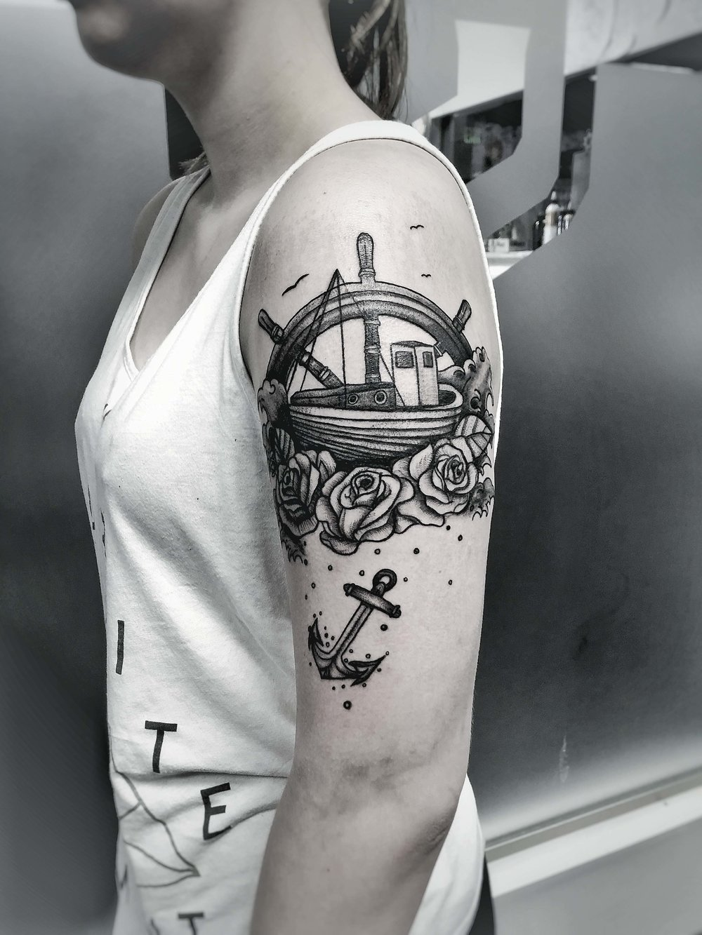 Custom Black and Grey Boat on Roses and Anchor Tattoo by Dani at Certified Tattoo Studios Denver Co.jpg