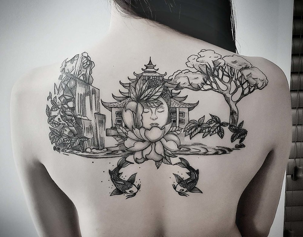 Custom Black and Grey Buddah and Scenery with Koi Fish Tattoo by Dani at Certified Tattoo Studios Denver Co.jpg