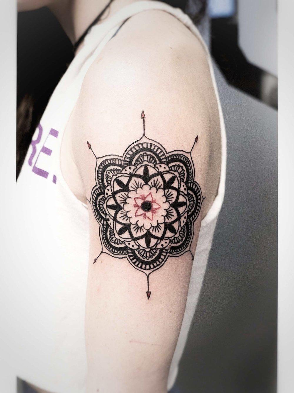 Custom Black Mandala with Red Arrow Accents Tattoo by Dani at Certified Tattoo Studios Denver Co.jpg
