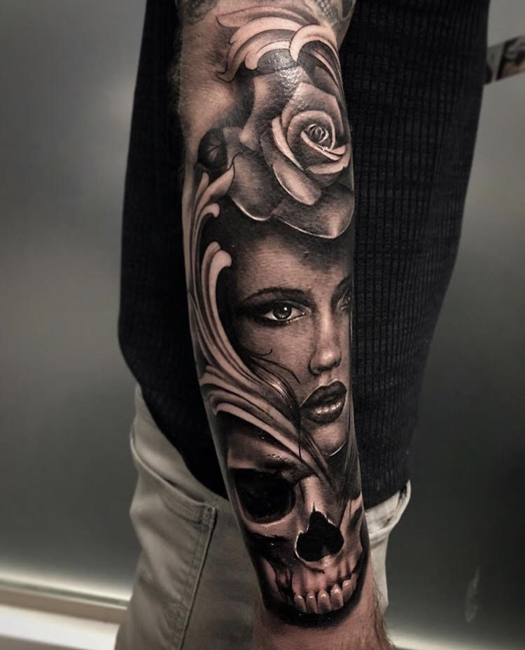 Custom Black and Grey Woman Coming Out of A Skull Tatto By Bryan At Certified Tattoo Studios Denver Co.jpg