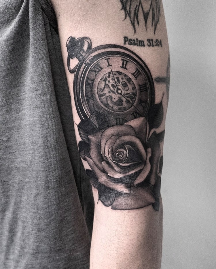 Custom Black and Grey Clock and Rose Tattoo by Cobra Lightening At Certified Tattoo Studios Denver Co.jpg