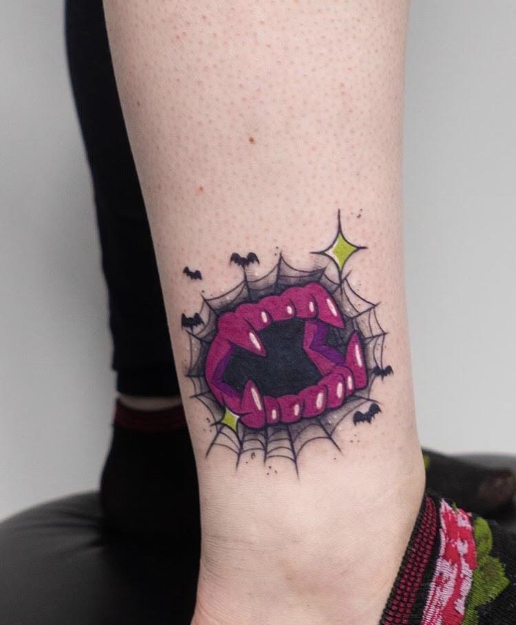 Custom Full Color Fake Vampire Teeth Spider Web and Bats Tattoo by Hannah Espinoza at Certified Tattoo Studios Denver Co.jpg
