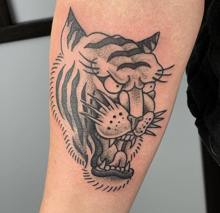 Custom Traditional Roaring Tiger Tattoo by Jorden  at Certified Tattoo Studios Denver Co.jpg