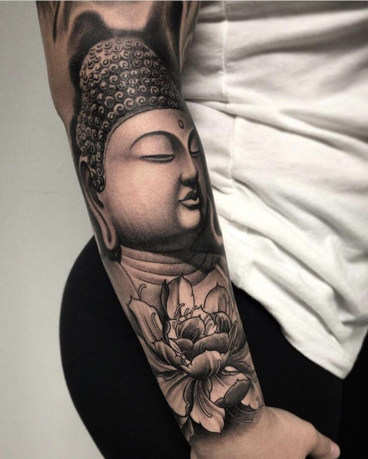 Custom Black and Grey Buddha Portrait with Peony Flower Tattoo by Salvador Diaz at Certified Tattoo Studios Denver Co.jpg