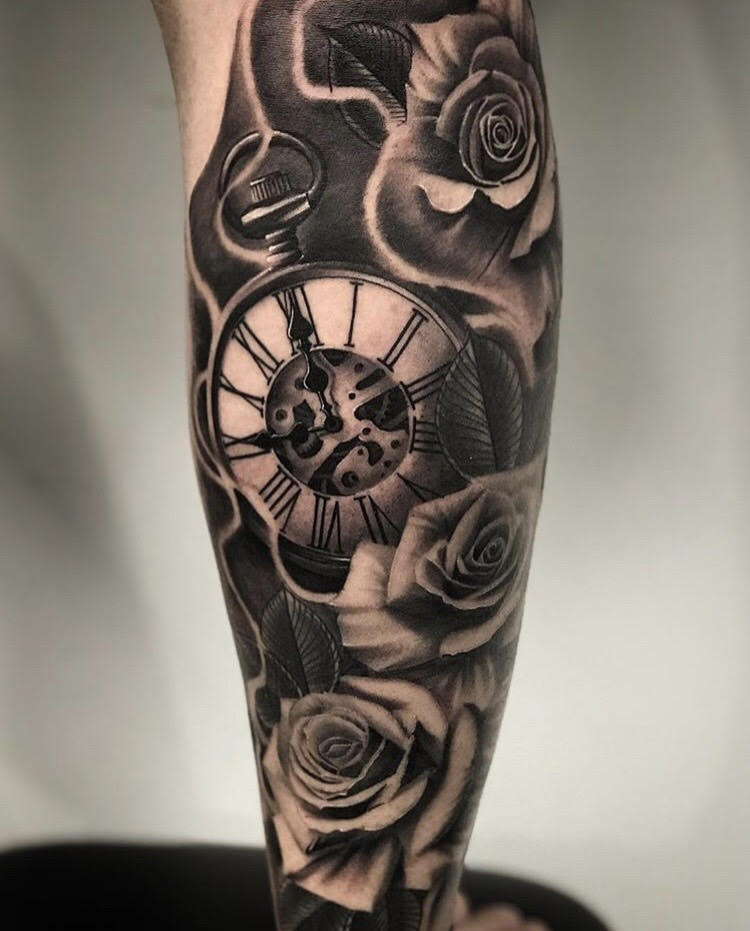 Custom Black and Grey Clock in Smoke and Roses Tattoo by Salvador Diaz at Certified Tattoo Studios in Denver Co (46).jpg