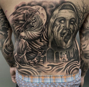 Custom Black and Grey Grim Reaper and Cemetery Tattoo by Salvador Diaz at Certified Tattoo Studios in Denver Co (12).jpg