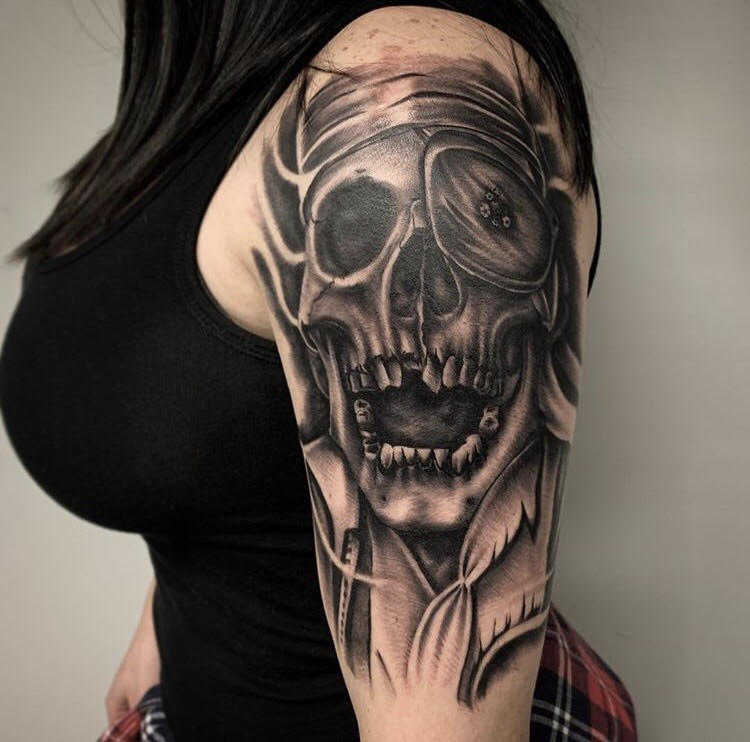 Custom Black and Grey Pirate Skull Tattoo by Salvador Diaz at Certified Tattoo Studios in Denver Co (48).jpg