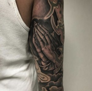 Custom Black and Grey Praying Hands Tattoo by Salvador Diaz at Certified Tattoo Studios in Denver Co (26).jpg