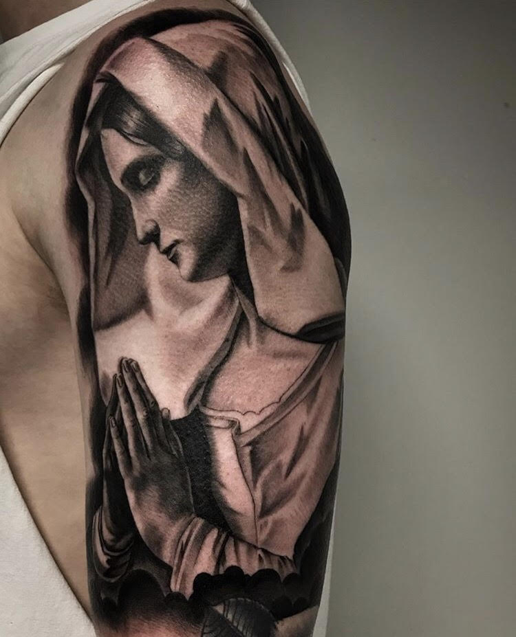 Custom Black and Grey Praying Virgin mary Portrait Tattoo by Salvador Diaz at Certified Tattoo Studios Denver Co.jpg
