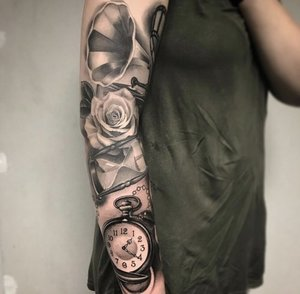 Custom Black and Grey Record player with a Rose Hourglass and Clock Tattoo by Salvador Diaz at Certified Tattoo Studios in Denver Co (13).jpg