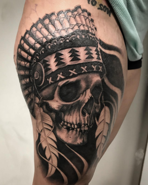 Custom Black and Grey Skull in Native Head Dess  Tattoo by Salvador Diaz at Certified Tattoo Studios in Denver Co (6).png