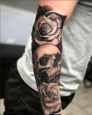 Custom Black and Grey Skull in Roses  Tattoo by Salvador Diaz at Certified Tattoo Studios in Denver Co (36).jpg
