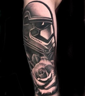 Custom Black and Grey Storm Trooper with a Rose  Tattoo by Salvador Diaz at Certified Tattoo Studios in Denver Co (40).jpg