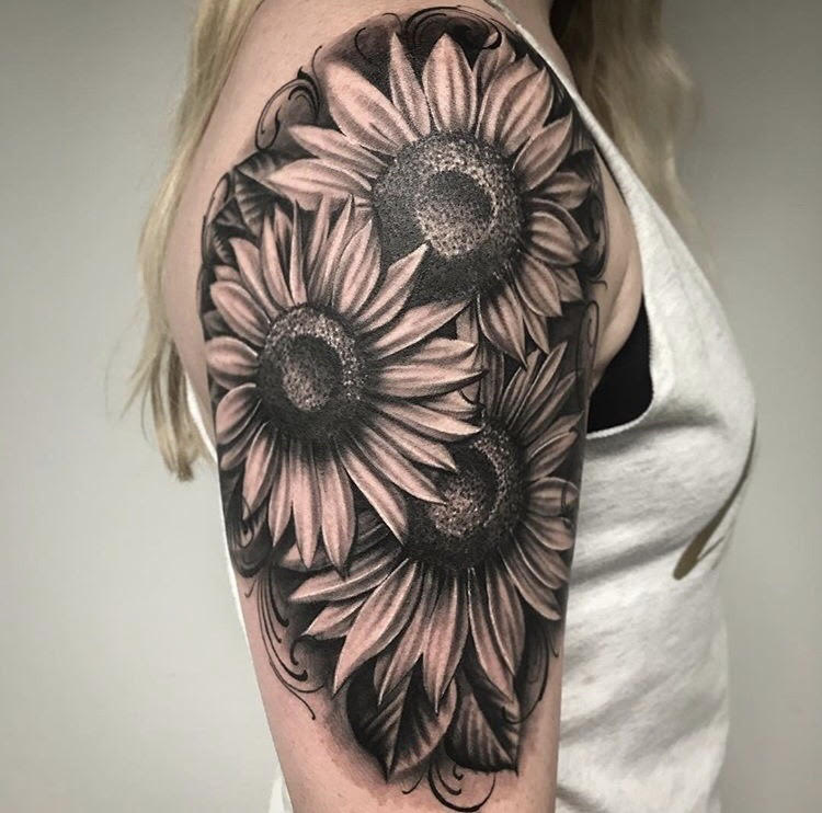 Custom Black and Grey Three Sunflowers Tattoo by Salvador Diaz at Certified Tattoo Studios in Denver Co (1).jpg