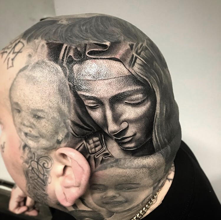 Custom Black and Grey Virgin Mary Head Tattoo by Salvador Diaz at Certified Tattoo Studios Denver Co.jpg