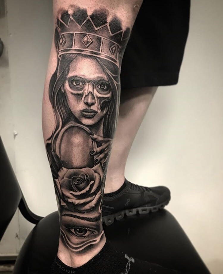 Custom Black and Grey Woman Turning into a Skull Portrait with Roses Tattoo by Salvador Diaz at Certified Tattoo Studios Denver Co.jpg