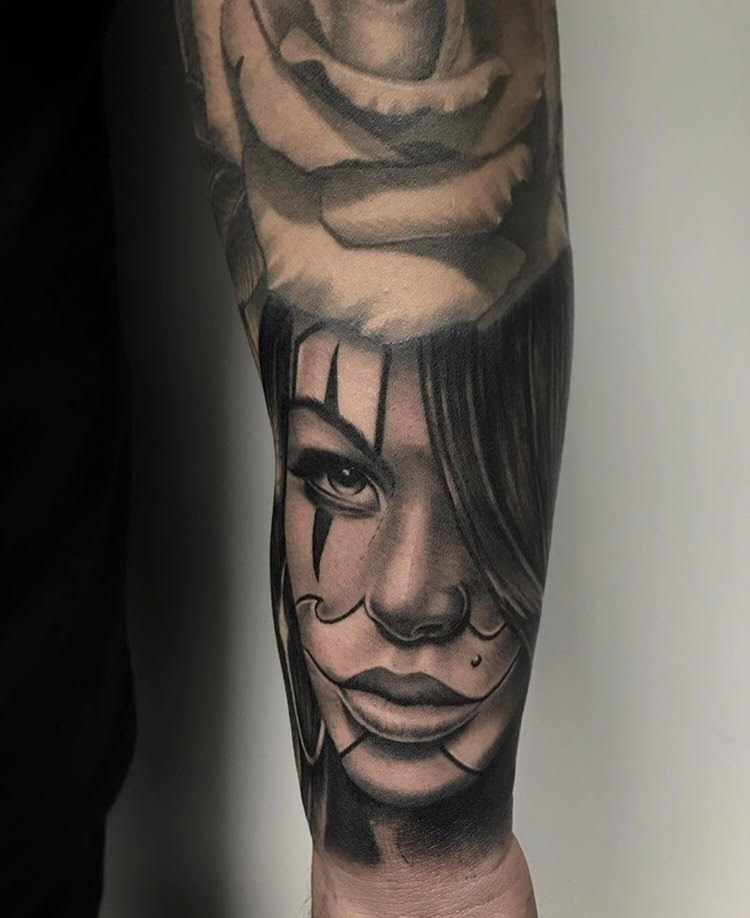 Custom Black and Grey Clown Woman Portrait Tattoo by Salvador at Certified Tattoo Studios Denver Co.jpg