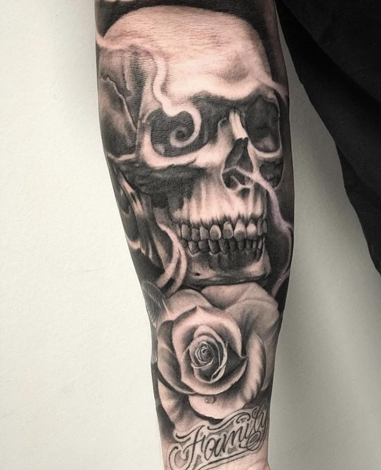 Custom Black and Grey Smoke and Skull with Rose Family Tattoo by Salvador Diaz at Certified Tattoo Studios Denver Co.jpg