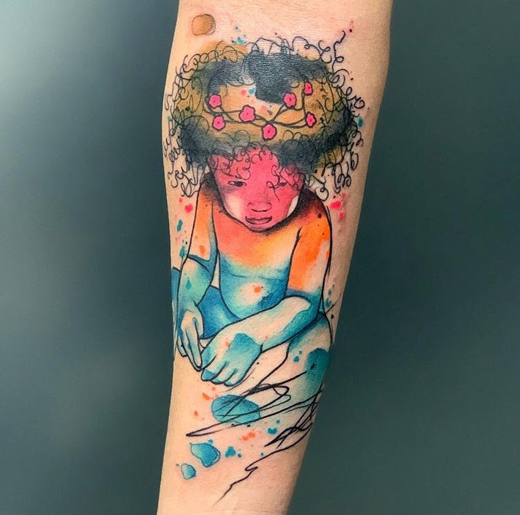 Custom Water Color Daughter Portrait Tattoo by Skyler at Certified Tattoo Studios Denver CO.jpg