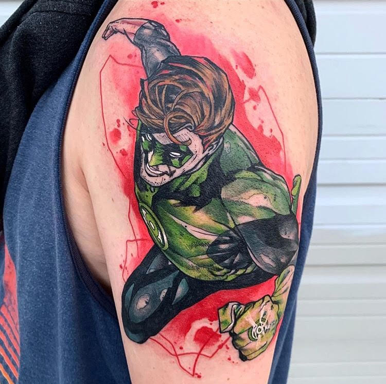 Custom Water Color Flying Green Lantern Tattoo by Skyler at Certified Tattoo Studios Denver Co.jpg