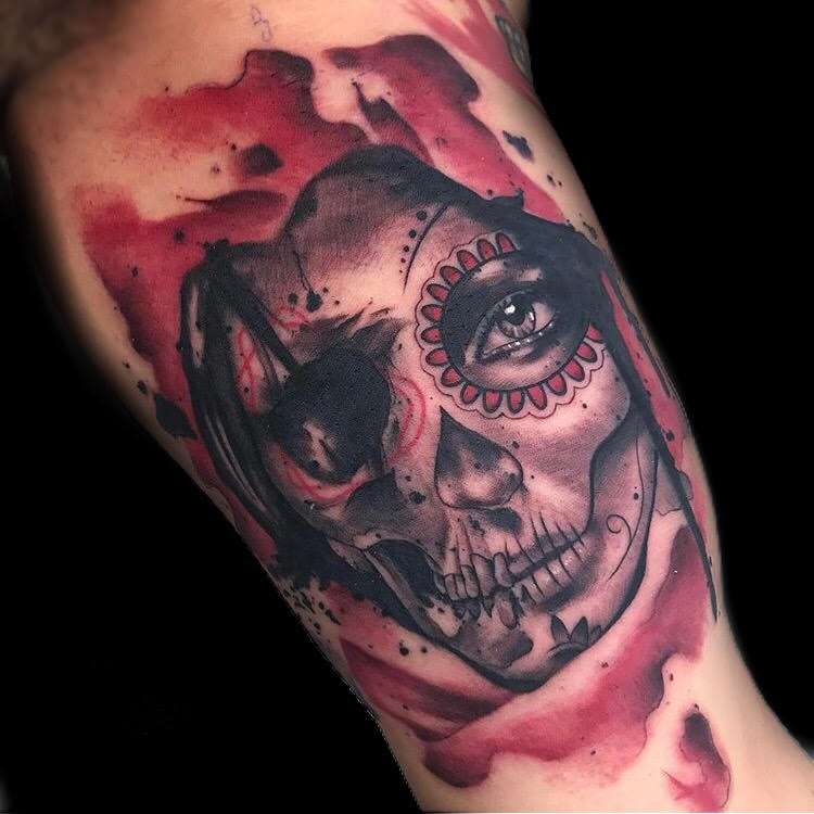 Custom Water Color Sugar Skull Tattoo by Skyler Espinoza at Certified Tattoo Studios Denver Co.jpg