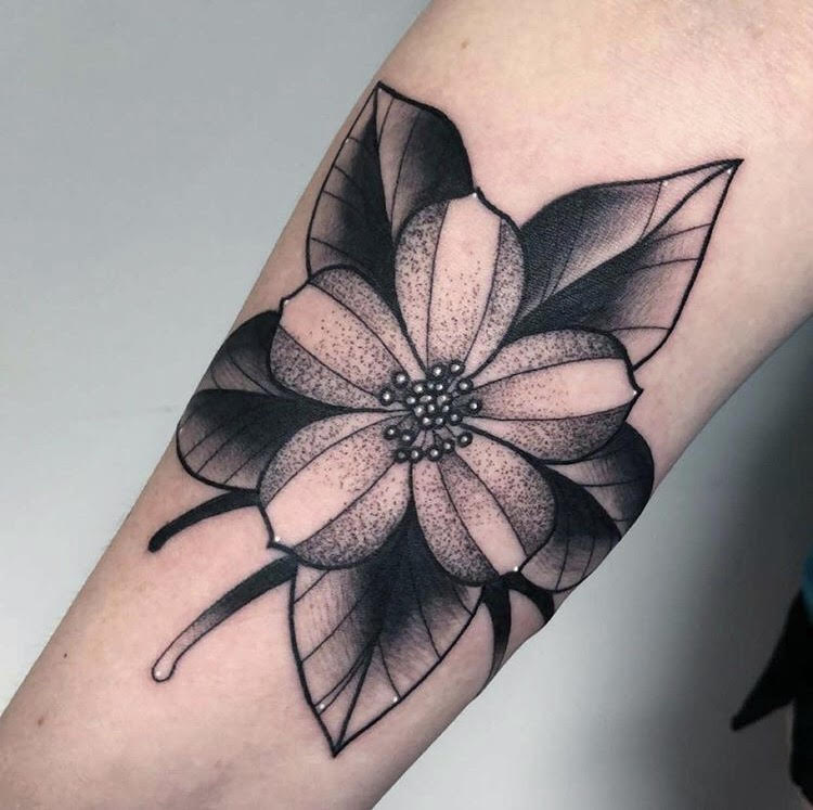 Custom Columbine Flower Neo Traditional Style Tattoo by Alec at Certified Tattoo Studios Denver CO  (19).jpg