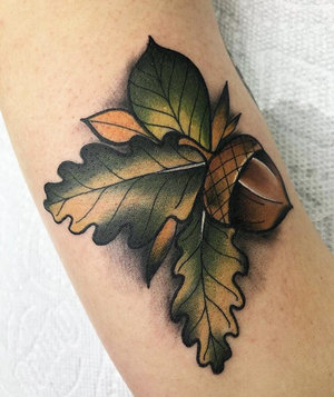 Custom Full Color Acorn Neo Traditional Style Tattoo by Alec at Certified Tattoo Studios Denver CO  (12).jpg