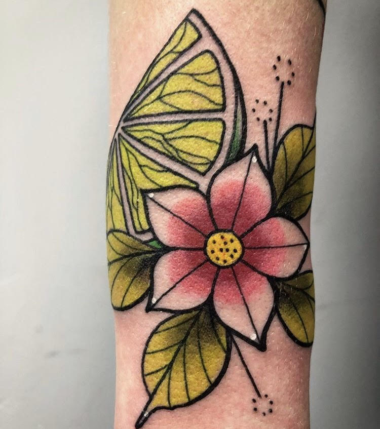 Custom Full Color Cherry Blossom and Lime Neo Traditional Style Tattoo by Alec at Certified Tattoo Studios Denver CO  (21).jpg