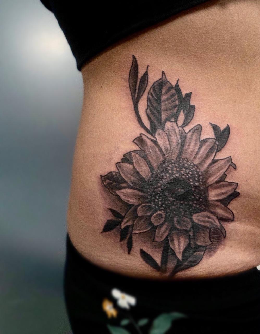 Custom Black and Grey Sunflower Tattoo by Ruben Trujillo at Certified Tattoo Studios Denver CO.jpg