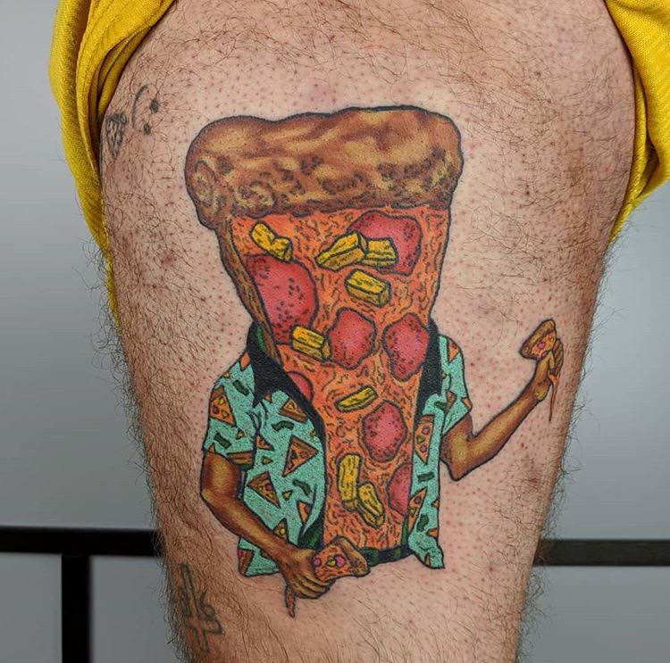 Custom Full Color Pizza Person Tattoo by Camille at Certified Tattoo Studios Denver Co.jpg