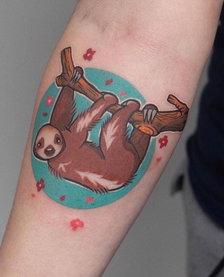 Custom Full Color Hanging Sloth Tattoo by Hannah Espinoza at Certified Tattoo Studios Denver Co.jpg