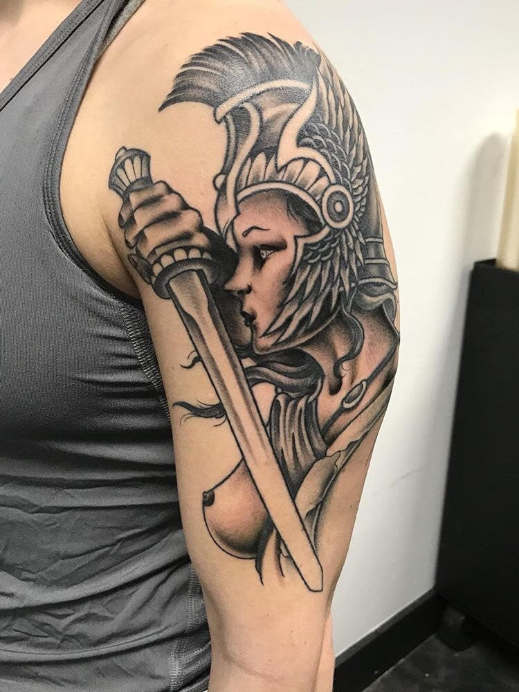Custom Black and Grey Traditional Woman Warrior Tattoo by Jon Hanna at Certified Tattoo Studios Denver CO.jpg