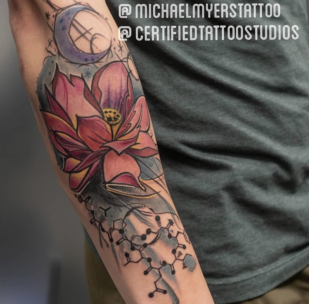 Custom Abstract Flower Tattoo by Michael Myers at Certified Tattoo Studios Denver CO.jpg