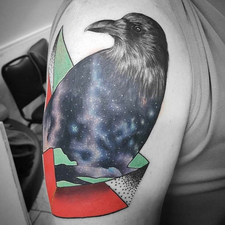 Custom Black and Grey Galaxy Crow Tattoo by Alix at Certified Tattoo Studios Denver Co.jpg